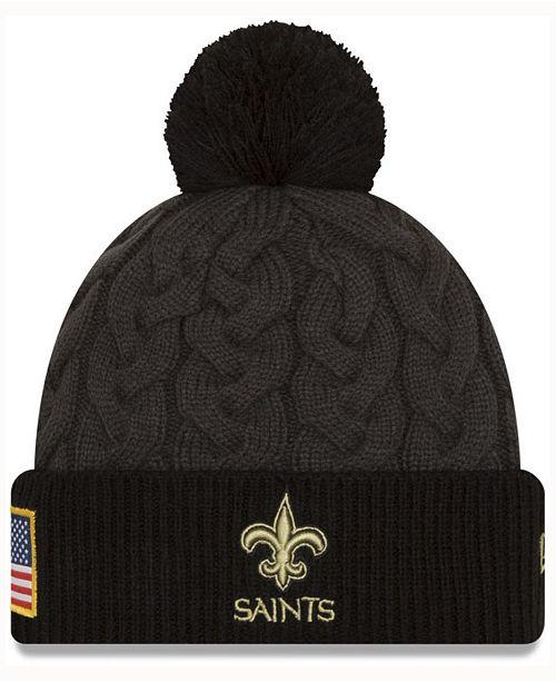 b3d0f250f9f ... Hat  New Era Women s New Orleans Saints Salute to Service Pom Knit ...