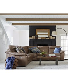 Gennaro Leather Power Reclining Sectional Sofa Collection with Power Headrest, Created for Macy's