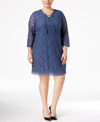 Style & Co Plus Size Lace Peasant Dress, Only at Macy's