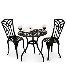 Levene Cast Aluminum Outdoor Bistro 3-Pc Set, Quick Ship