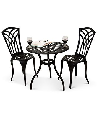 Noble House Levene Cast Aluminum Outdoor Bistro 3 Pc Set Quick Ship