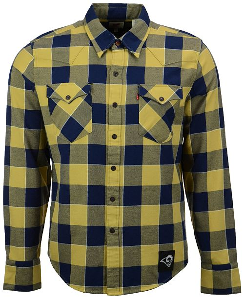 Levi s Men s Los Angeles Rams Plaid Barstow Western Long-Sleeve Shirt 44403fe34