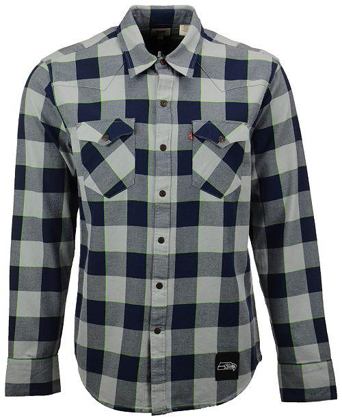 50c2ff795 ... Shirt  Levi s Men s Seattle Seahawks Plaid Barstow Western Long-Sleeve  ...