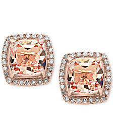 EFFY® Morganite (2-3/4 ct. t.w.) and Diamond (1/5 ct. t.w.) Stud Earrings in 14k Rose Gold