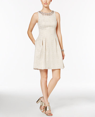 Vince Camuto Jacquard Fit Amp Flare Dress Created For Macy