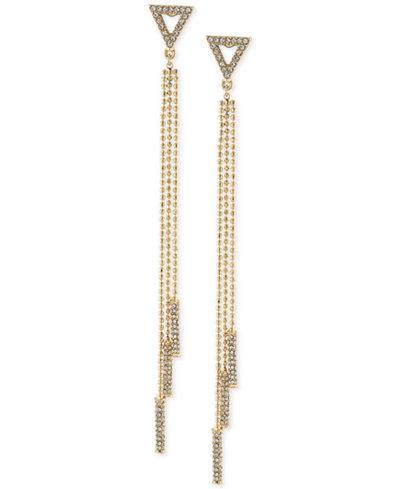 ABS by Allen Schwartz Gold-Tone Crystal Drop Earrings