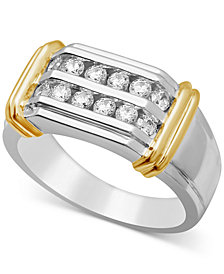 Men's Diamond Two-Row Ring (3/4 ct. t.w.) in Sterling Silver and 10k Yellow Gold