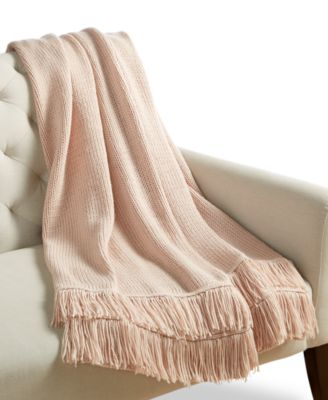 Whim by Martha Stewart  Collection Fringe Stripe Throw, Created for Macy's