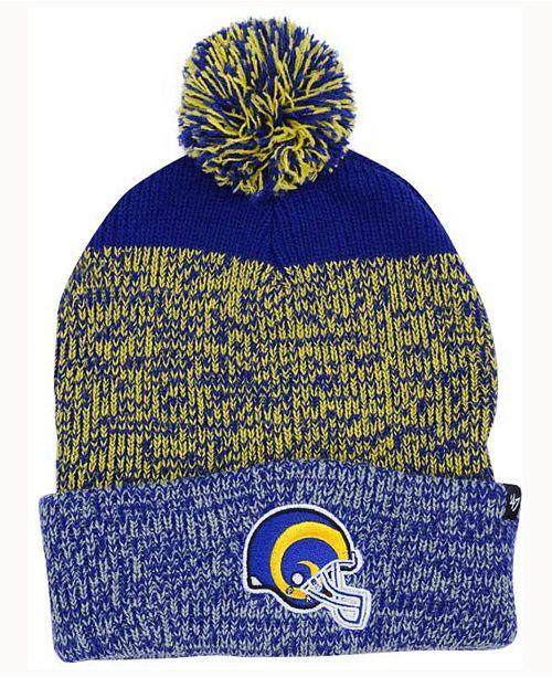 '47 Brand Los Angeles Rams Static Cuff Pom Knit Hat