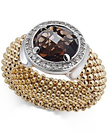Smoky Quartz (2-1/8 ct. t.w.) and Diamond (1/5 ct. t.w.) Popcorn Band Ring in 14k Gold-Plated Sterling Silver