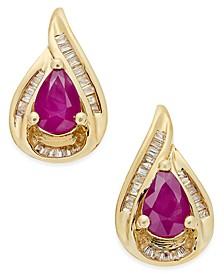 Certified Ruby (9/10 ct. t.w.) and Diamond (1/6 ct. t.w.) Stud Earrings in 14k Gold