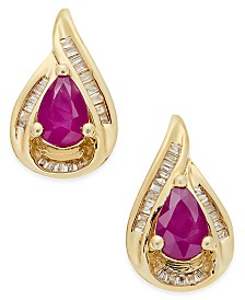 Certified Ruby (9/10 ct. t.w.) and Diamond (1/6 ct. t.w.) Stud Earrings in 14k Gold