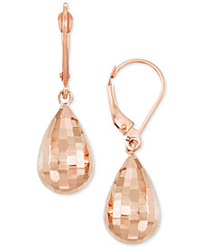 Textured Teardrop Drop Earrings in 14k Rose Gold