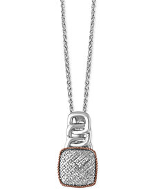 EFFY® Diamond Pavé Pendant Necklace (1/8 ct. t.w.) in Sterling Silver and 14k Rose Gold