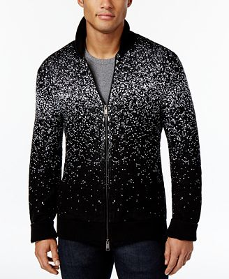 Armani Exchange Men's Black with White Knit Zip Cardigan ...