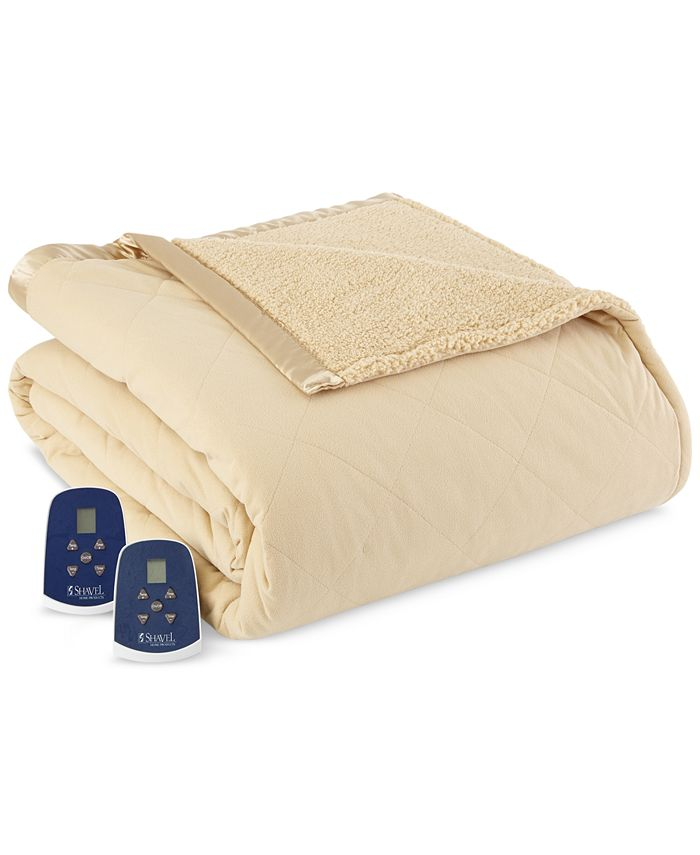 Shavel - Reversible Micro Flannel® to Faux-Sherpa Full Electric Blanket