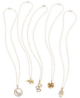 Diamond-Cut Bead Pendant Necklace in 14k Gold