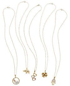 Whimsical Pendant Necklace Collection in 10k and 14k Gold and Tricolor Gold