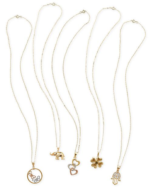 Macy's Whimsical Pendant Necklace Collection in 10k and 14k Gold and Tricolor Gold