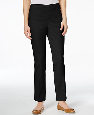 Karen Scott Petite Straight-Leg Twill Pants, Only at Macy's ...