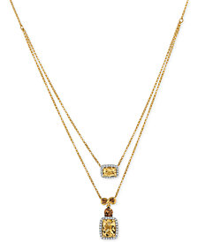 Le Vian Chocolatier® Papaya Morganite™ (1-1/2 ct. t.w.) and Diamond (1/5 ct. t.w.) Layered Pendant Necklace in 14k Gold