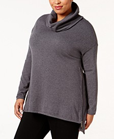 Plus Size High-Low Cowl-Neck Sweater