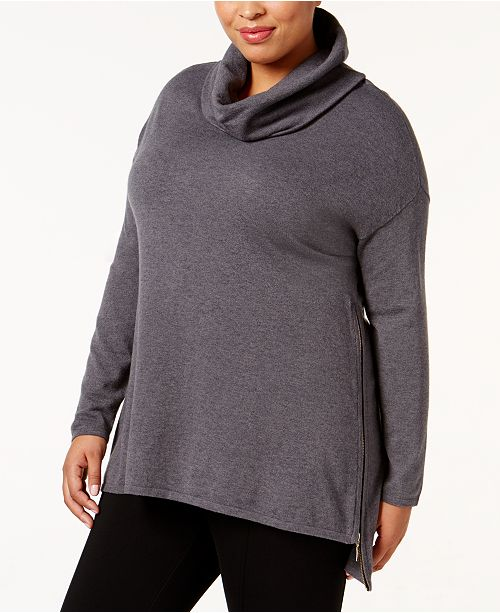 Belldini Plus Size High-Low Cowl-Neck Sweater