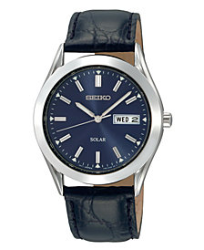 Seiko Watch, Men's Solar Blue Dial Black Leather Strap 37mm SNE049