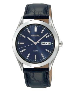 Seiko Watch, Men's Solar Blue Dial Black Leather Strap 37mm SNE049