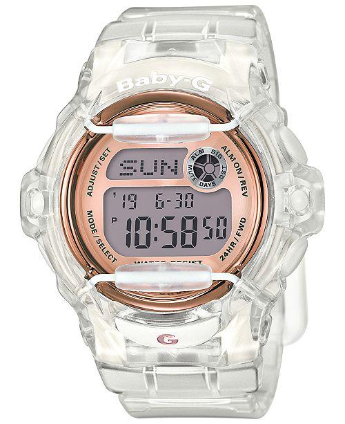 Baby-G Women's Digital Clear Resin Strap Watch 45x42mm BG169G-7B