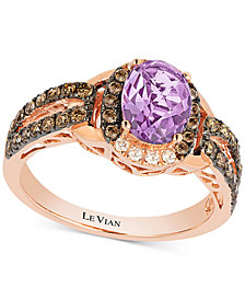 Le Vian® Chocolatier Amethyst (9/10 ct. t.w.) and Diamond (1/2 ct. t.w.) Ring set in 14k Rose Gold