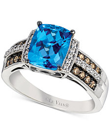 Le Vian® Chocolatier Signity Blue Topaz (2 ct. t.w.) and Diamond (1/4 ct. t.w.) Ring in 14k White Gold