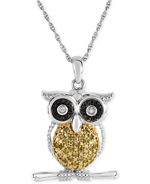 Macy's Diamond Owl Pendant Necklace (1/10 ct. t.w.) in Sterling Silver
