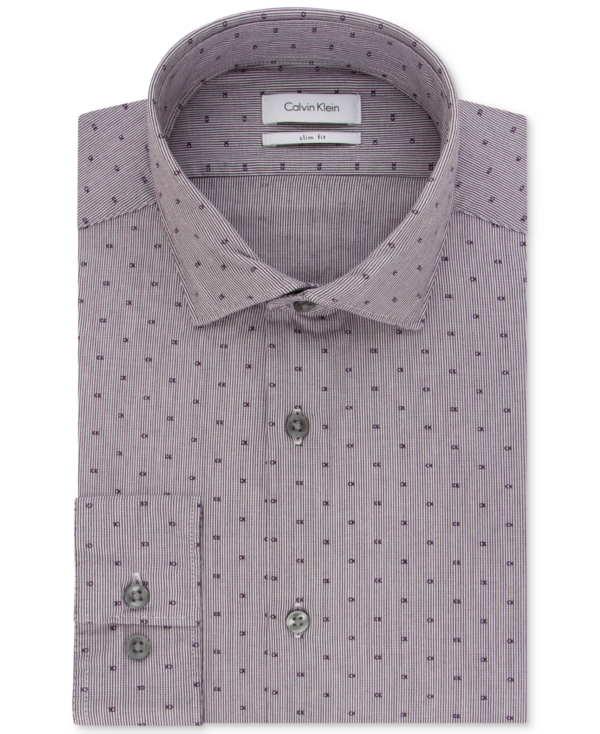 Calvin Klein Men's Slim-Fit Steel Non-Iron Performance Logo Print Dress Shirt