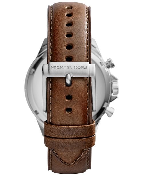 5f45b271f ... Michael Kors Men's Chronograph Gage Brown Leather Strap Watch 45mm  MK8362 ...