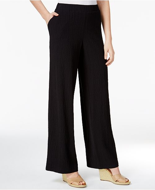 more photos 9522b f2d3f ... JM Collection Petite Pull-On Wide-Leg Crinkle Pants, Created for Macys  ...