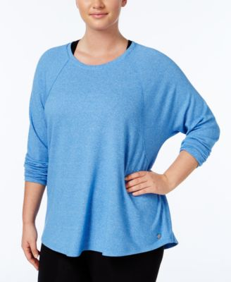 Calvin Klein Performance Plus Size Long-Sleeve Heathered Top