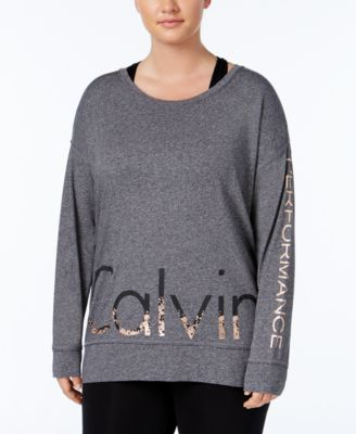 Calvin Klein Performance Plus Size Metallic Logo Top