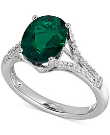 Lab-Created Emerald (2-1/2 ct. t.w.) and White Sapphire (1/5 ct. t.w.) Ring in Sterling Silver