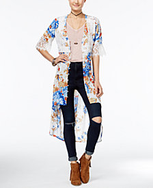 American Rag Printed Crochet-Trim High-Low Kimono, Created for Macy's