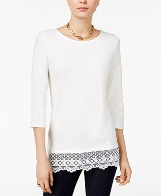 Tommy Hilfiger Lace-Hem Top, Only at Macy's
