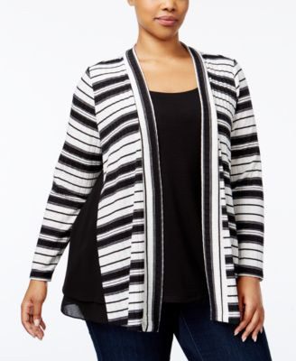 NY Collection Plus Size Layered-Look Cardigan