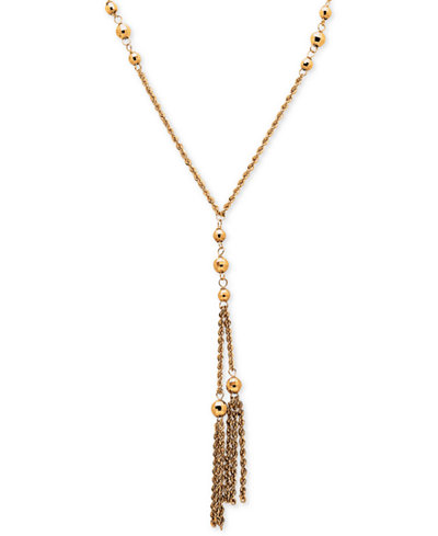 Beaded Tassel Lariat Necklace in 14k Gold