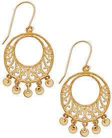 Filigree Dangle Gypsy Hoop Earrings in 10k Gold
