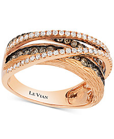 Le Vian Chocolatier® Diamond Multi-Band Crisscross Ring (9/10 ct. t.w.) in 14K Rose Gold