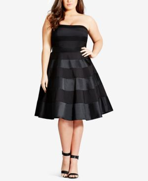 'Miss Shady' Stripe Strapless Fit & Flare Party Dress, Black