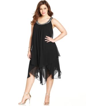 1930s Plus Size Dresses Sl Fashions Plus Size Tiered Shift Dress $99.00 AT vintagedancer.com