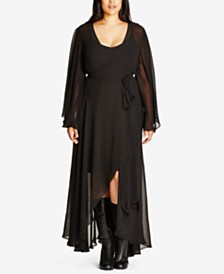City Chic Trendy Plus Size Flutter Maxi Dress