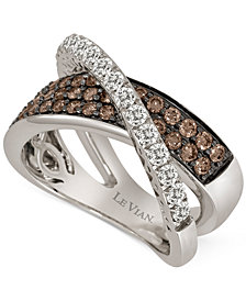 Le Vian Chocolatier® Diamond Crisscross Ring (1-1/8 ct. t.w.) in 14k White Gold