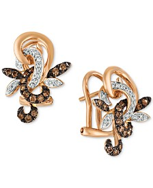Le Vian® Chocolatier Diamond Flower Drop Earrings (1/3 ct. t.w.) in 14k Rose Gold